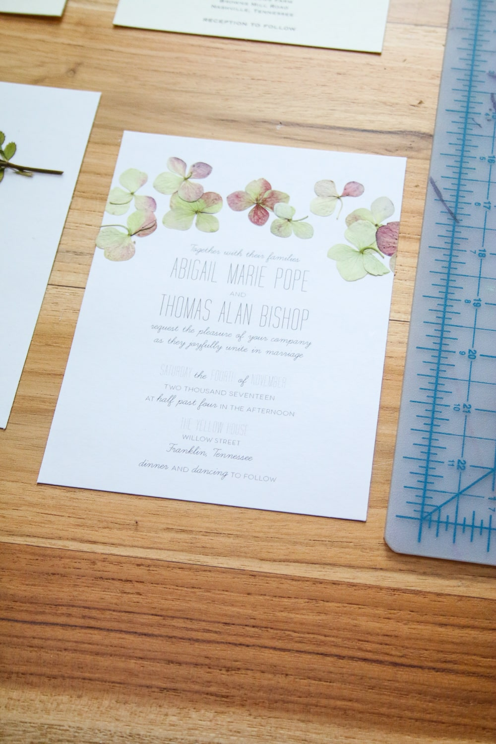 Pressed Flower Wedding Invitation