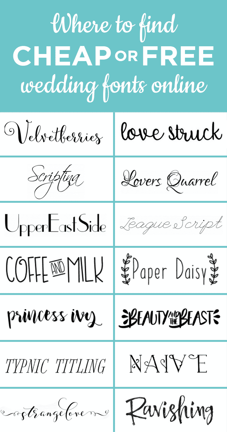 Looking for cheap or free wedding fonts so your DIY wedding invites, save the dates, and signage can look extra fly? Take a look at my suggestions here.