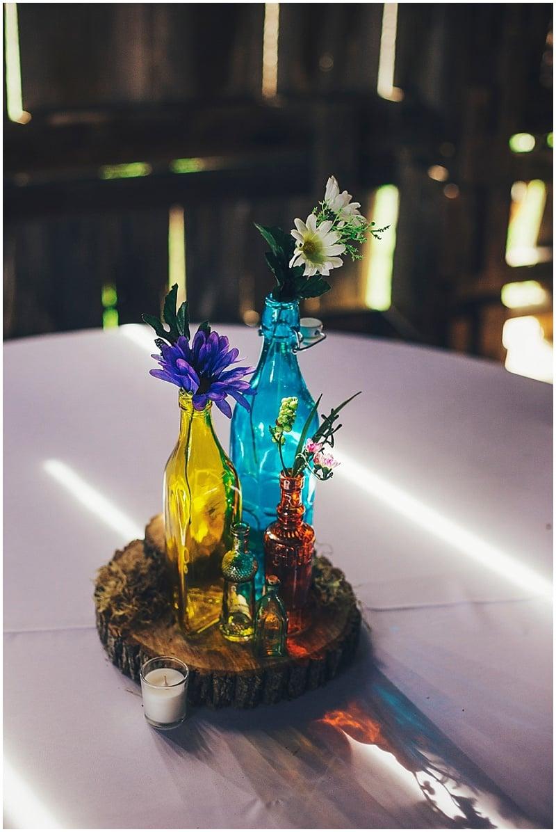mismatched vase wedding decor