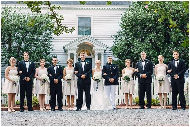 khaki and black wedding attire