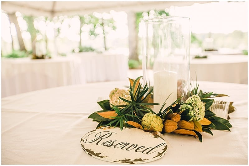 magnolia leaf wedding decor