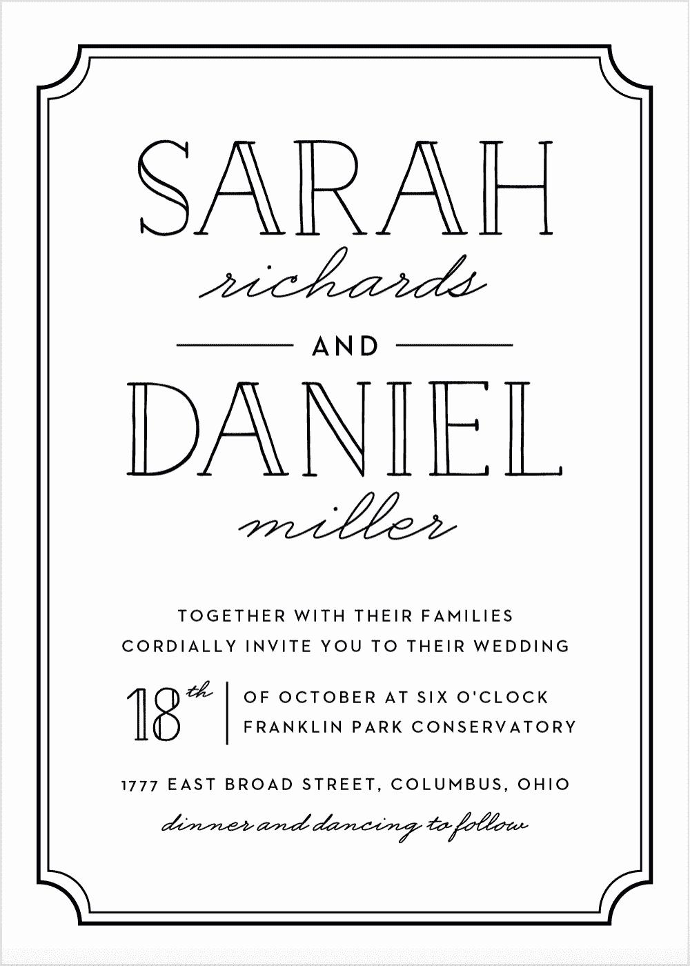 Type Frame Wedding Invitations