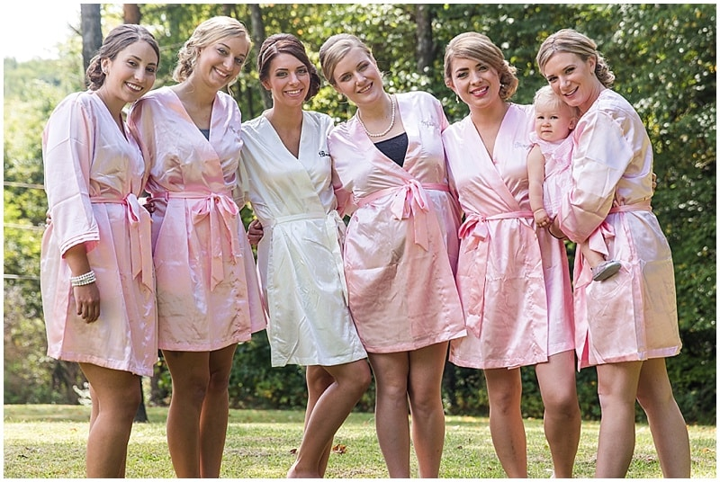 bridesmaid pink robes