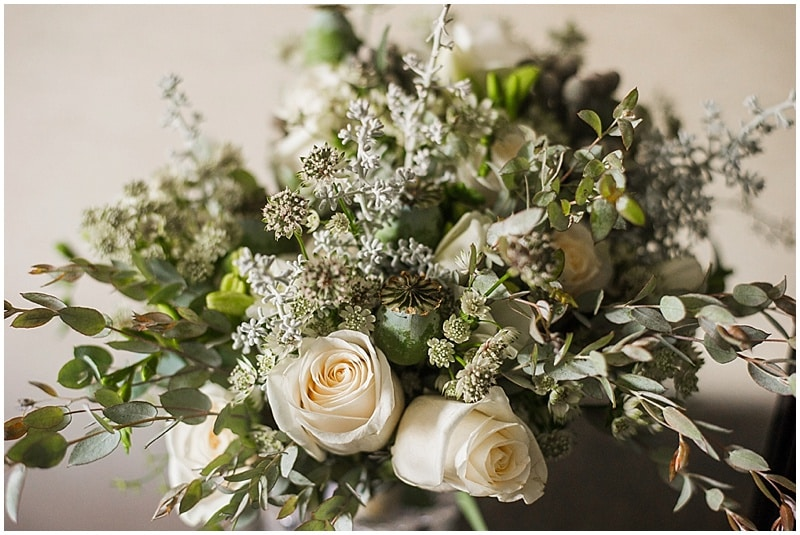 white and soft green bouquet