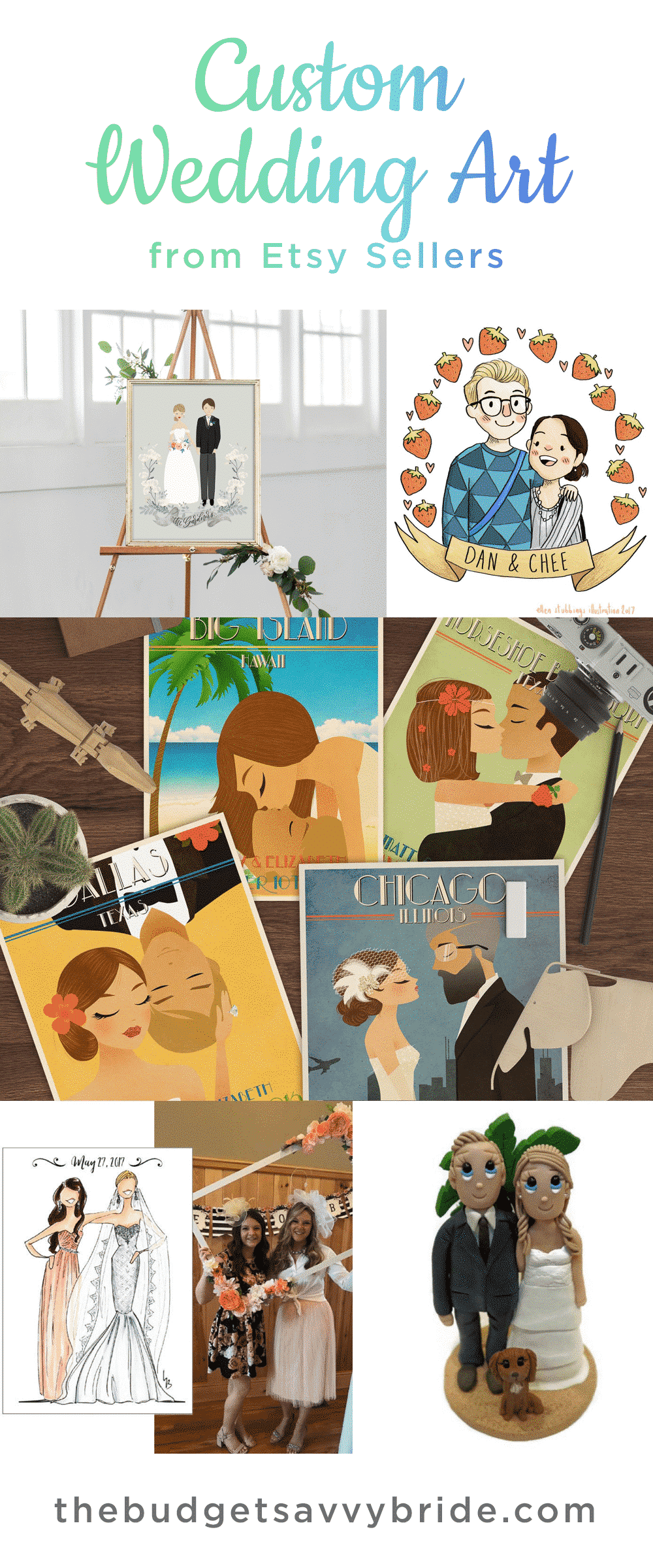 If you're in the market for custom wedding art, including portraits, monograms, and cake toppers, check out this installment of our Etsy Finds series.