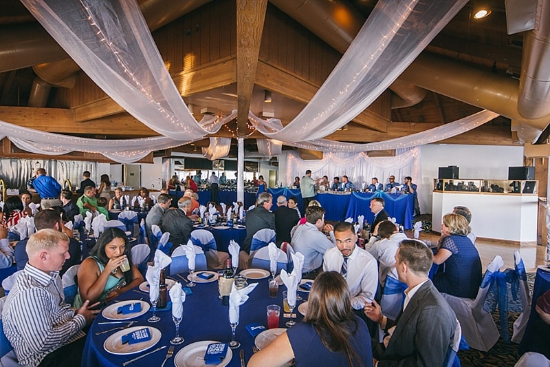 blue and white wedding decor