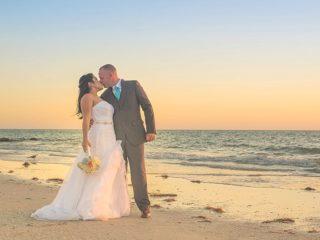 sunset beach wedding photos