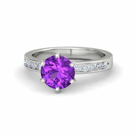 Amethyst Moissanite Gemstone Engagement Ring from Gemvara