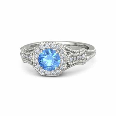 Blue Topaz Moissanite Gemstone Engagement Ring from Gemvara