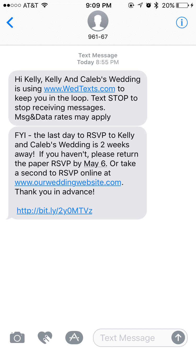 WedTexts makes it easy to set up alerts for your guests!