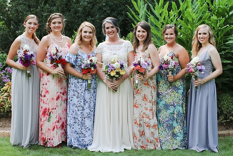 mismatched floral bridesmaids dresses