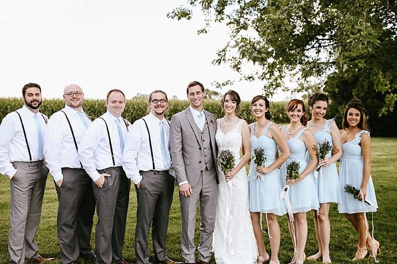 blue and gray wedding attire