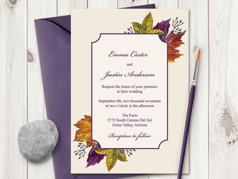 "Watercolor Wedding Invitation ""Autumn Leaves"""