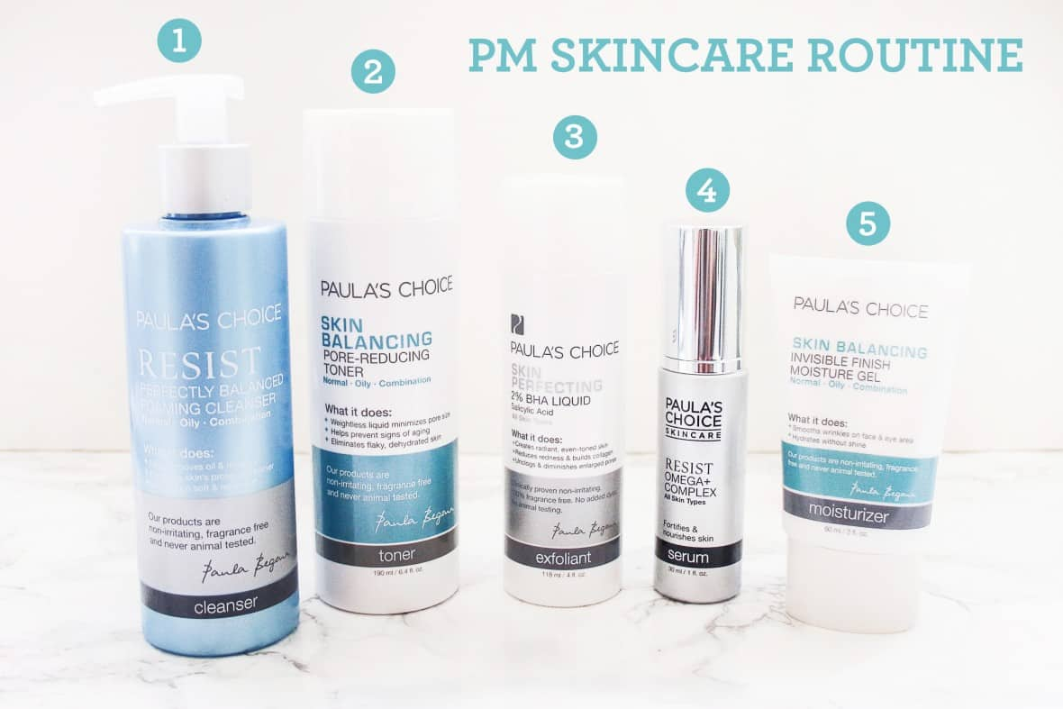 evening skincare routine using Paula's Choice products