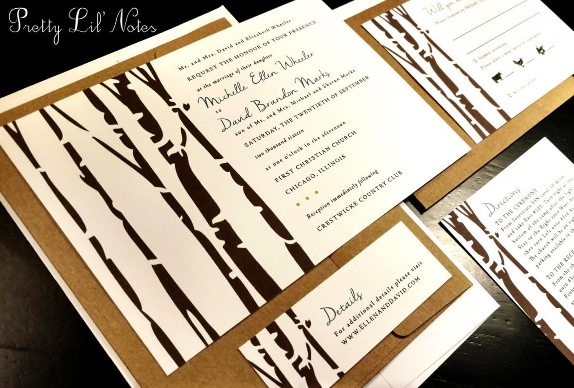 Birch Tree Forest Wedding Invitation Set byPrettyLilNotes