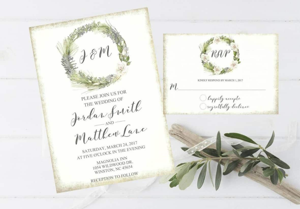 Rustic Pine with White Roses Invitation by themilkandcreamco