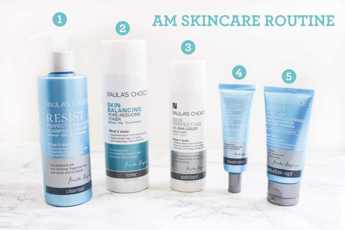 morning skincare routine using Paula's Choice products