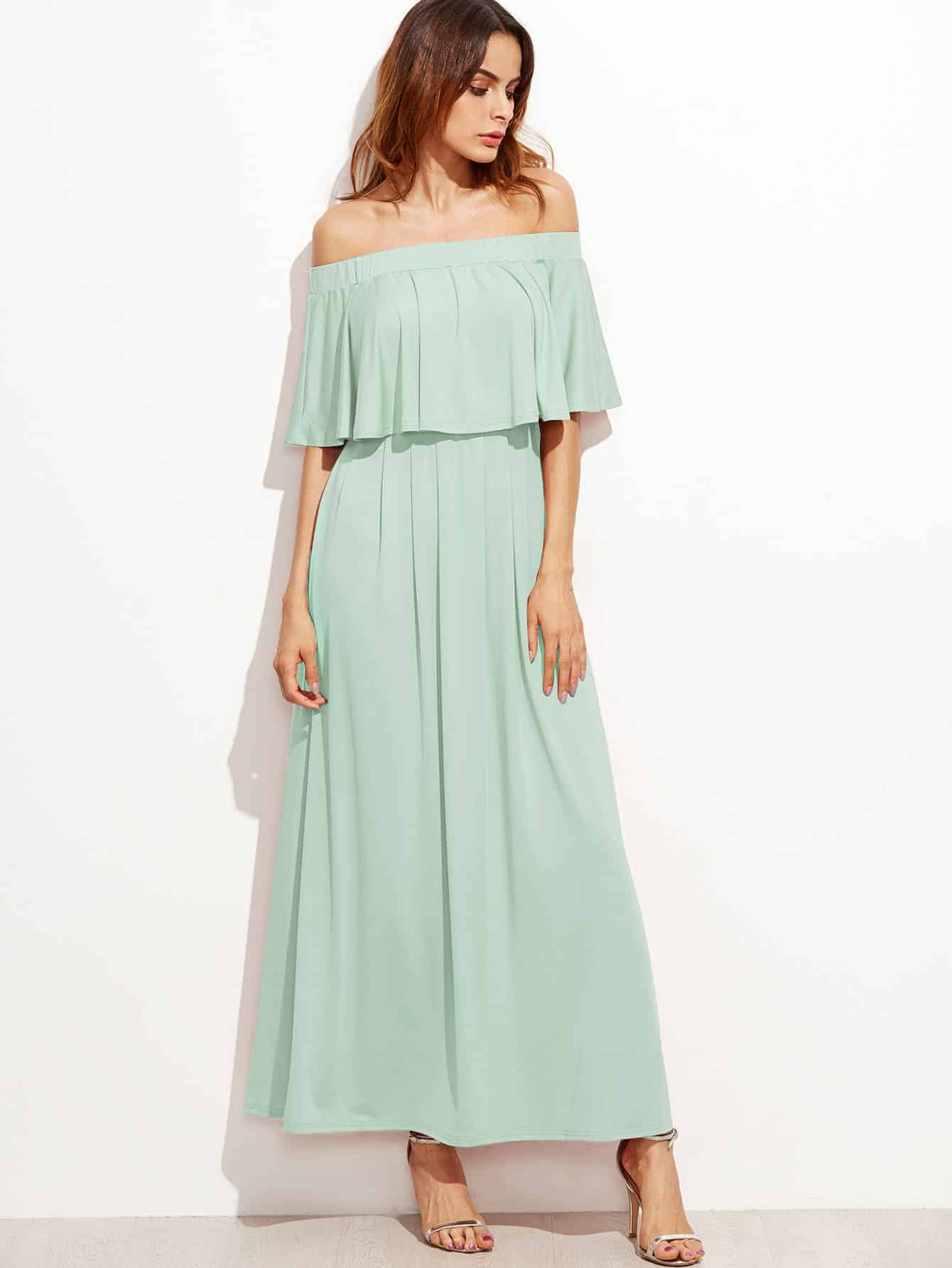 off the shoulder mint dress