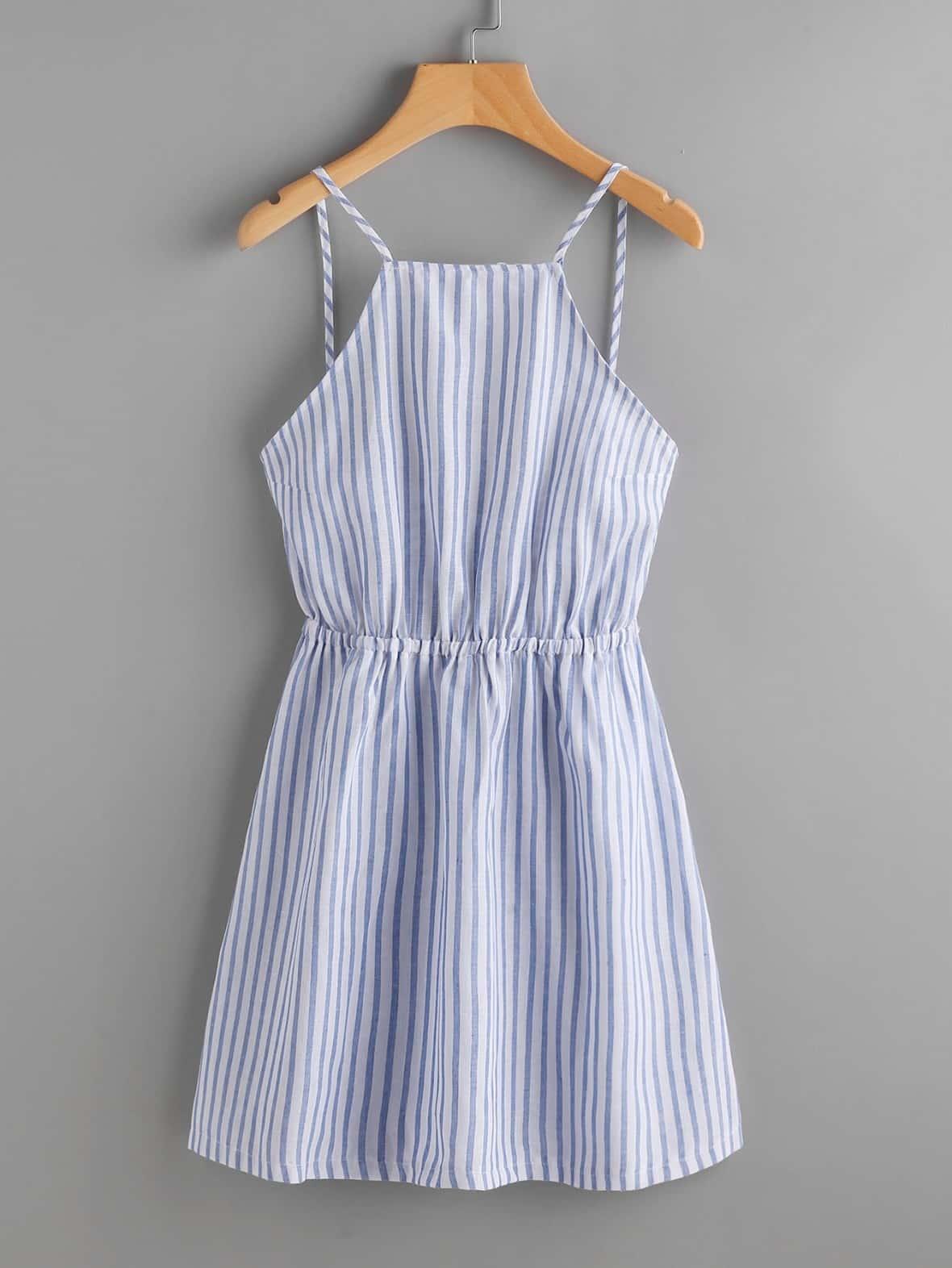 stripe tie back dress