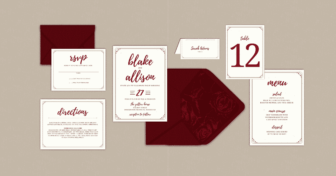 moody fall wedding invitation suite