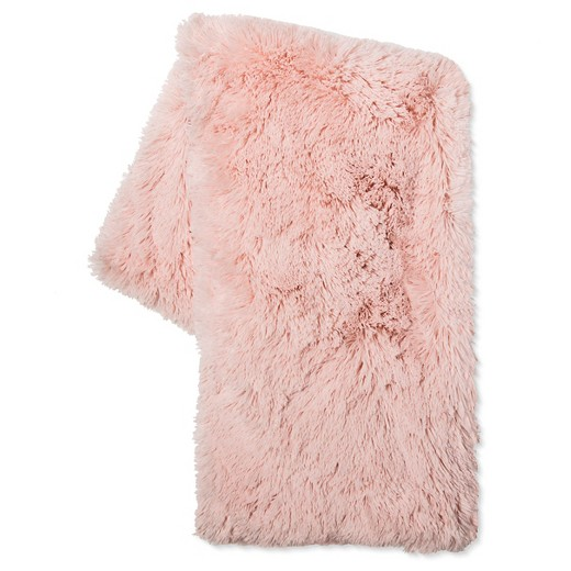 blush fur throw