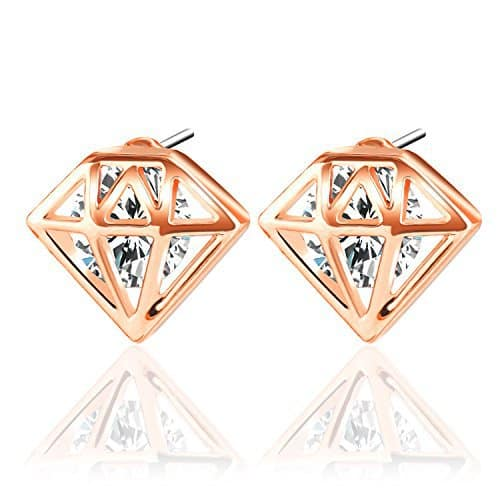 rose gold diamond shape earrings