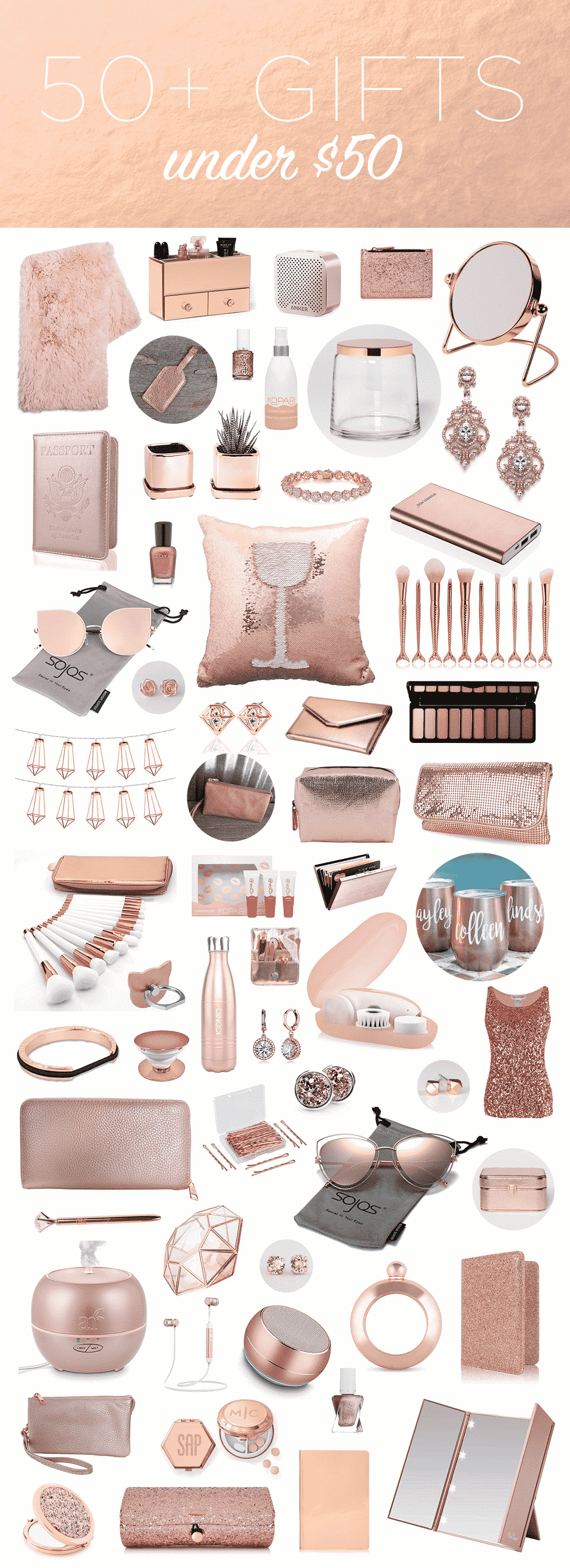 rose gold gifts - Gift Ideas Under $50