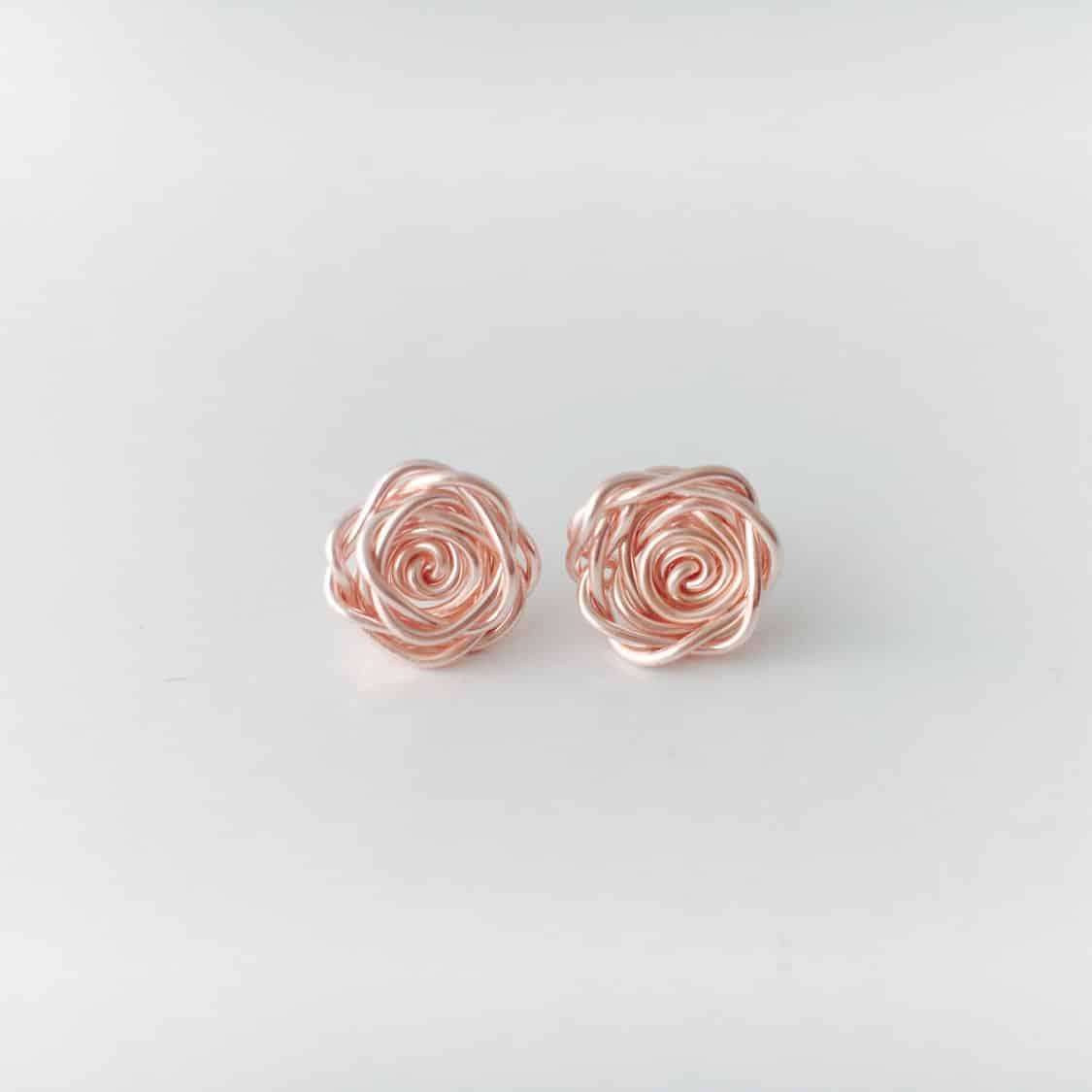 rose gold rose earrings