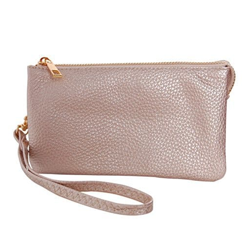 rose gold vegan leather wristlet