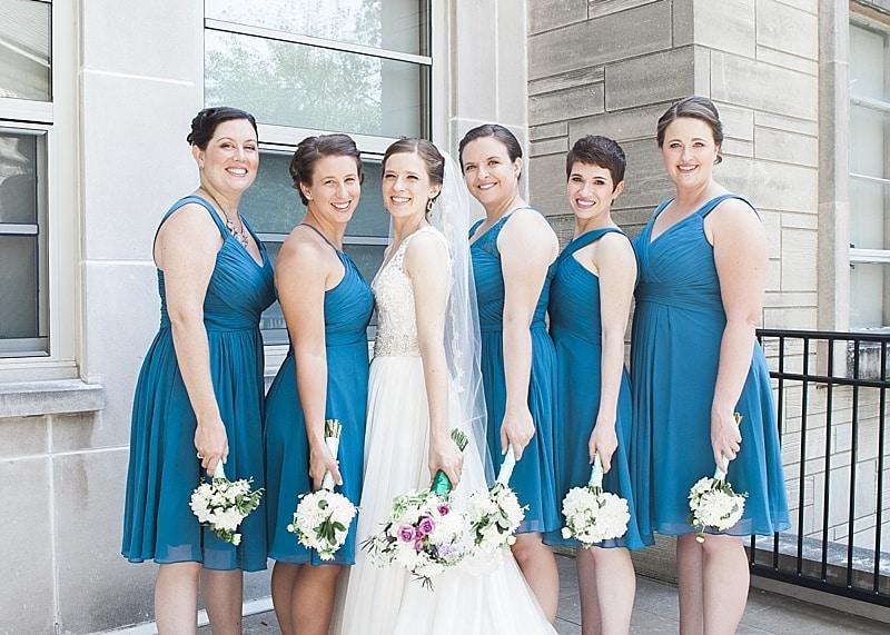 teal birdemaids' dresses