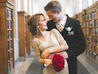 library wedding photos