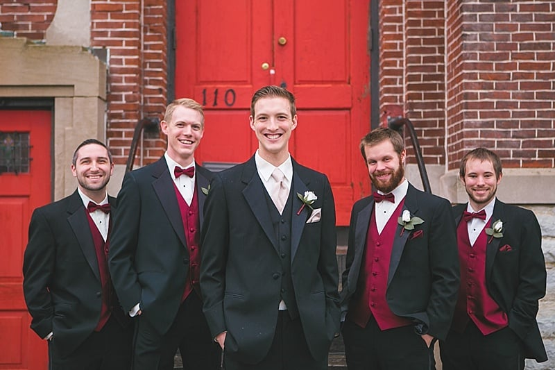 black and red groomsmen attire