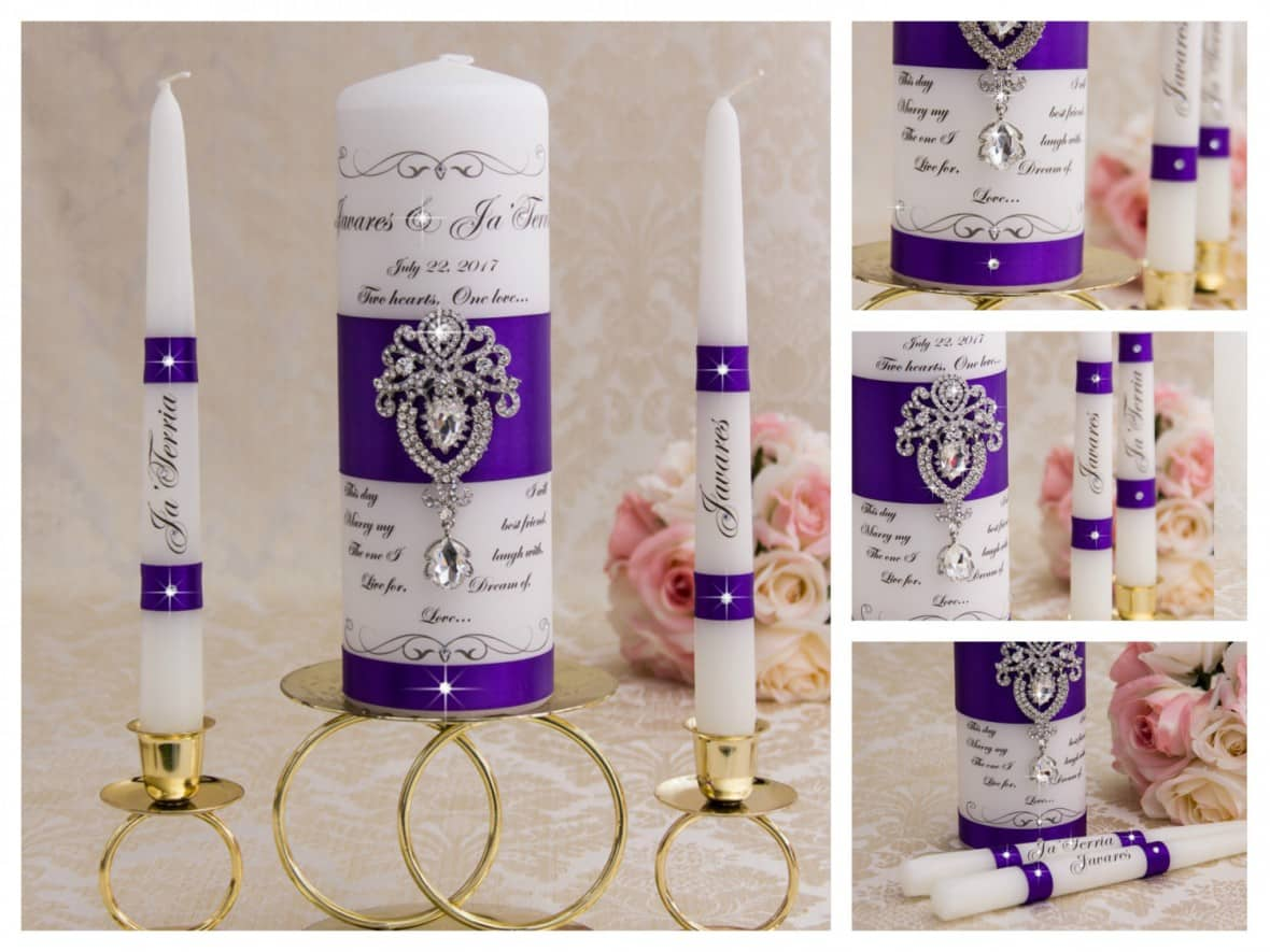 Personalized Crystal Ceremony Unity Candle Set by BridalQueen