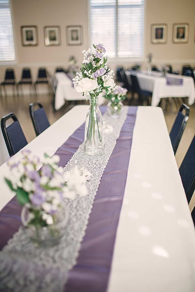 white and purple wedding decor