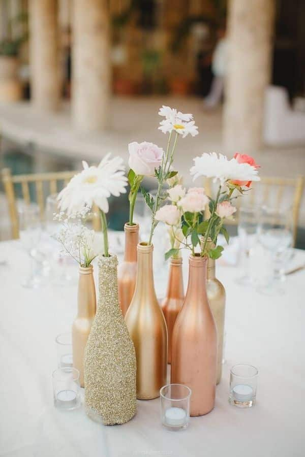 upcycled wine bottle wedding decor