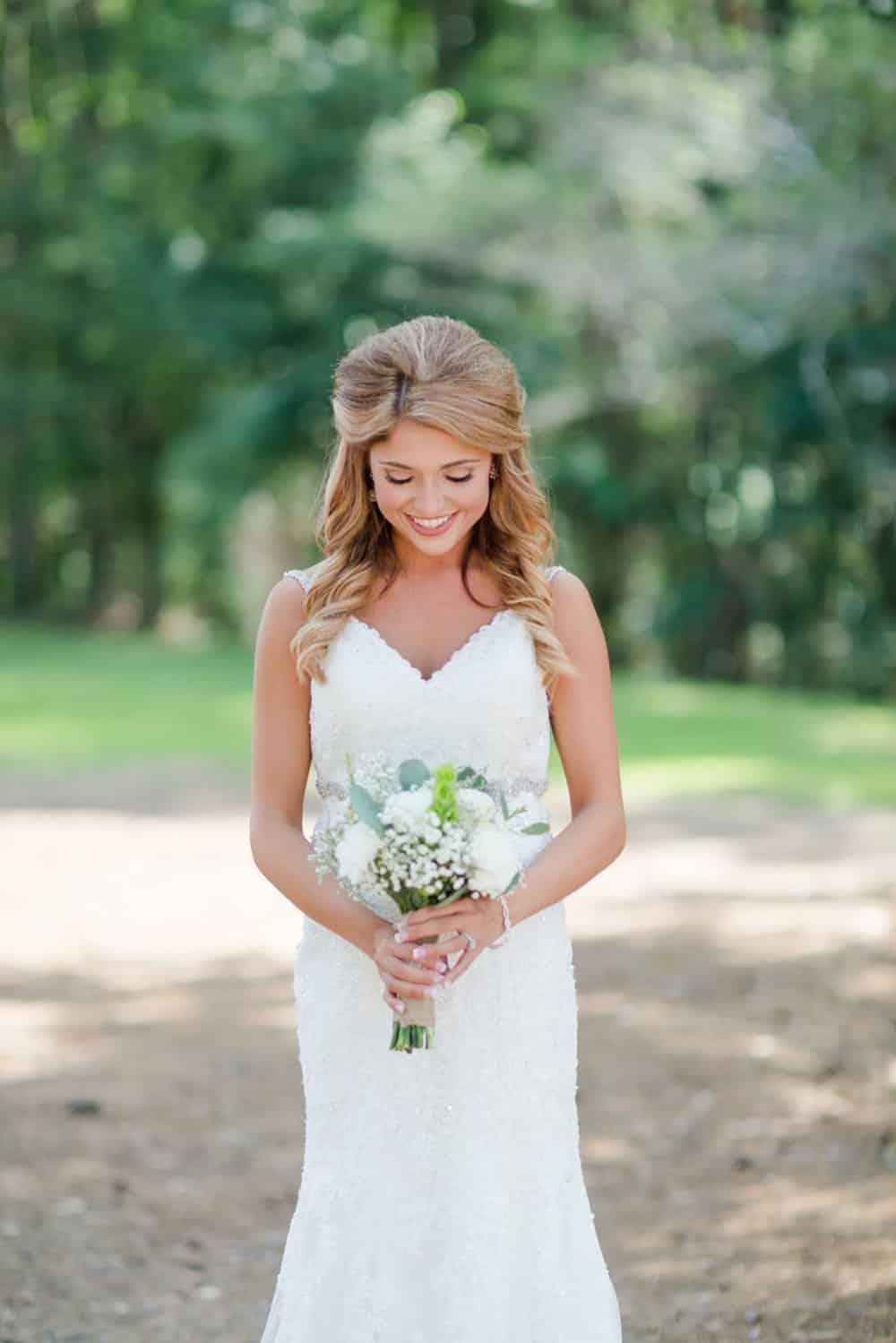 bride, bouquet, wedding gown