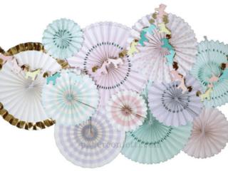 Unicorn Decorative Fan Set by paperconfettidotcom