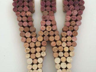 wine cork monogram upcycled wedding decor