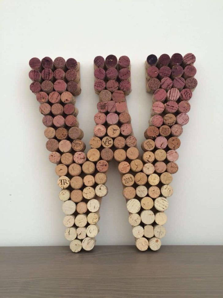 wine cork monogram upcycled wedding decor