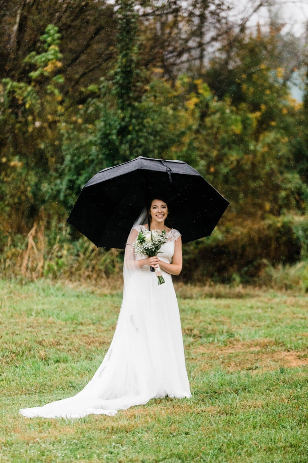 rainy day bride photo