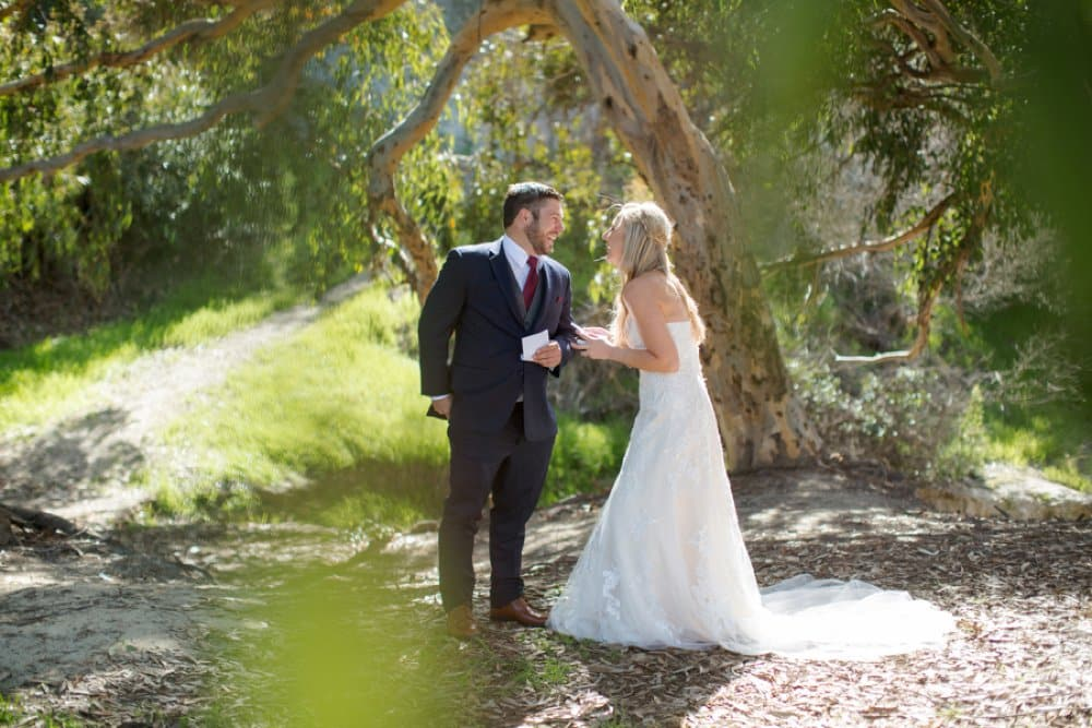 bride and groom, first look,boho classic cailfornia wedding