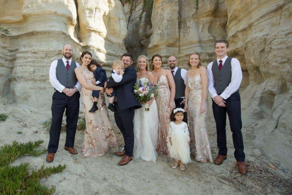 boho classic California wedding, bridal party