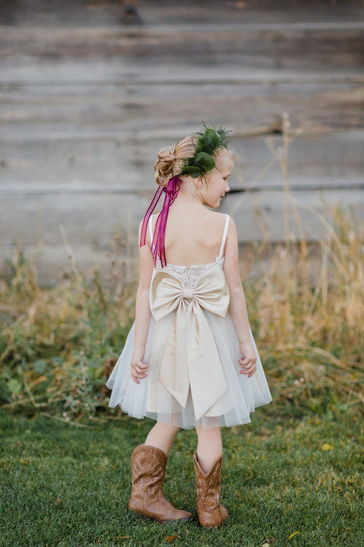 flower girl, flower girl fashion, fall barn wedding