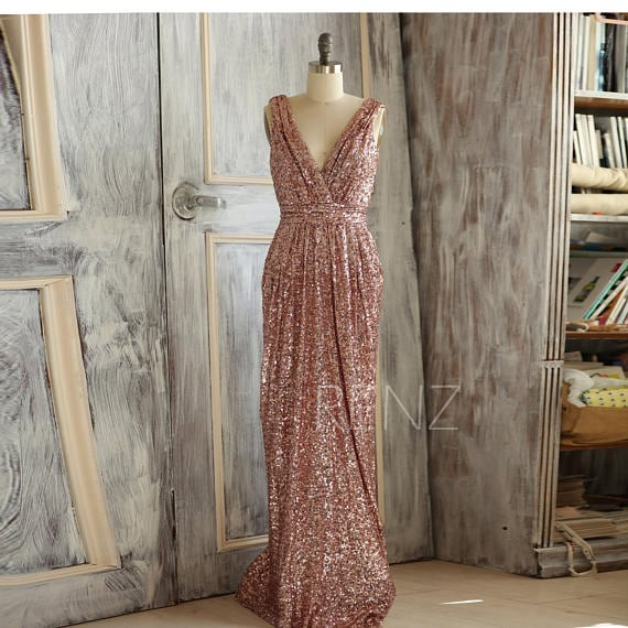 Rose Gold Sequin Bridesmaid Dress by RenzRags
