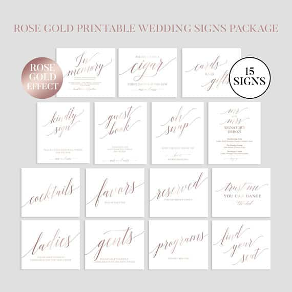 Rose Gold Wedding Sign Package by SweetPaperWedding