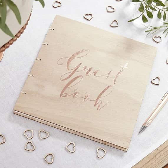 Rose Gold Wooden Guest Book supersweetparty