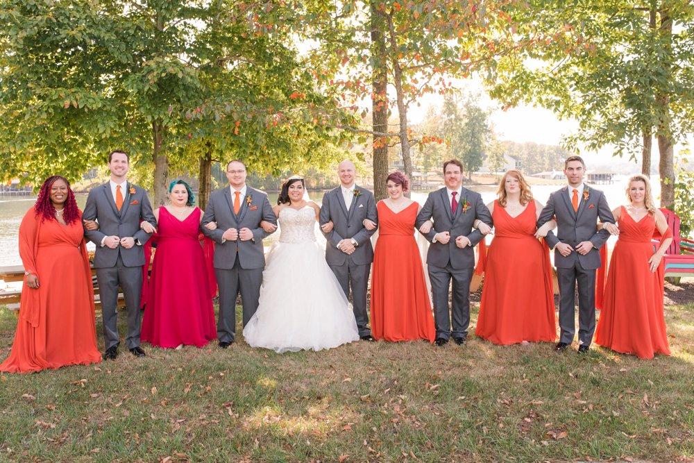 bridal party, orange and grey wedding