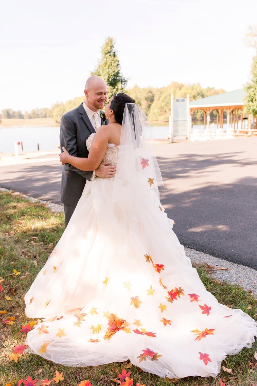bride and groom, fall wedding