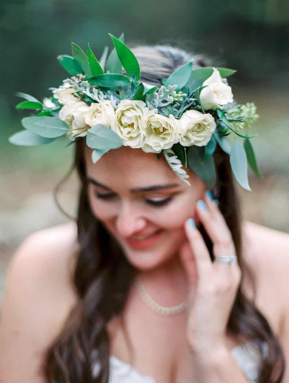 boho bride, wedding photos, flower crown