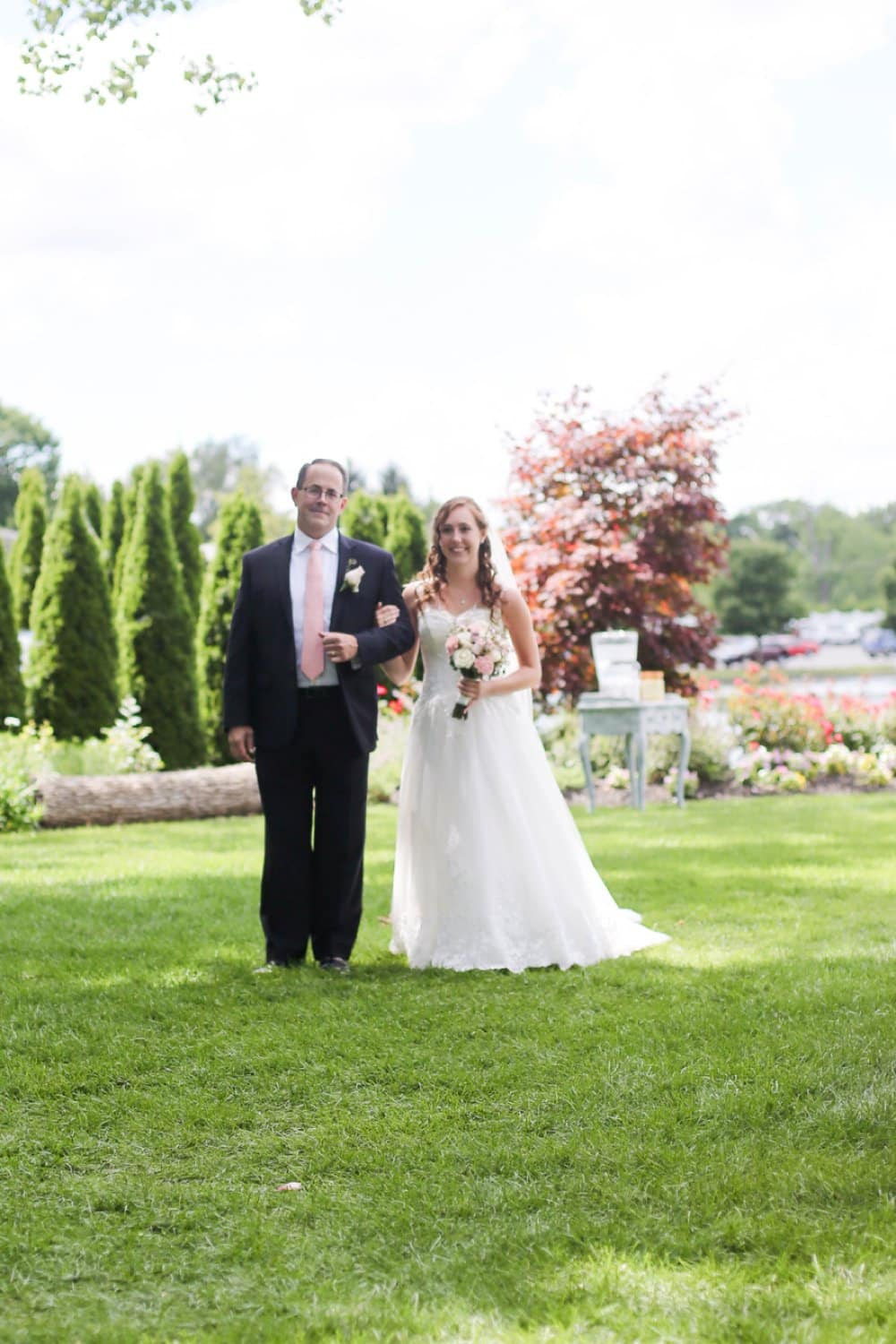 bride and Father, outdoor ceremony